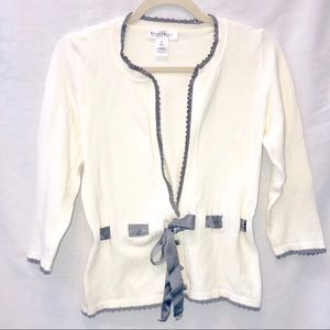 White House Black Market Tie 3/4 Sleeve Cardigan